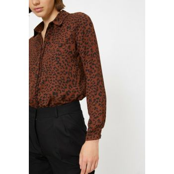Women's Coffee Leopard Print Shirt 0KAK66534IW