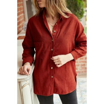 Women's Tile Single Pocket Loose Velvet Shirt 9KXK2-42237-16