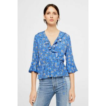 Women's Klein Blue Frilly Floral Blouse 11085025