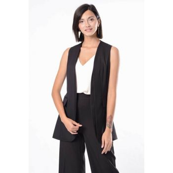 Women Black Waistcoat with Pocket H36476-1220
