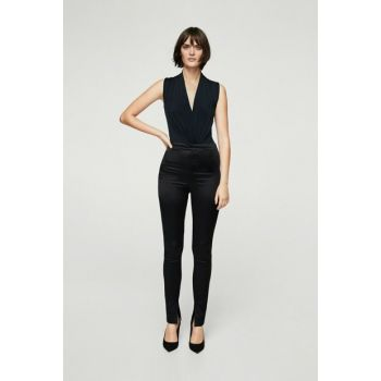 Women's Black Slit Satin Trousers 11029051