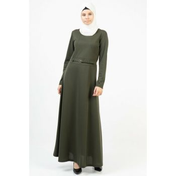 Women's Khaki Long Dress With Belt 3687/145