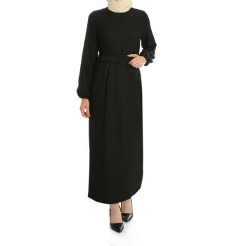 Women's Black Sleeve Elastic Belt Dress ELB03212_SYH