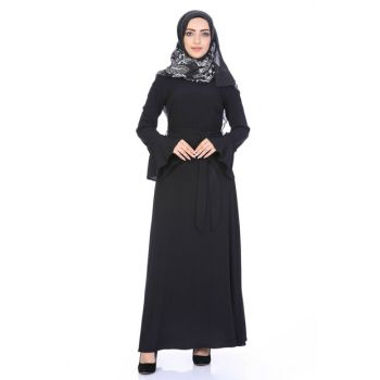 Women's Black Collar Sleeve Detailed Hijab 3699/145