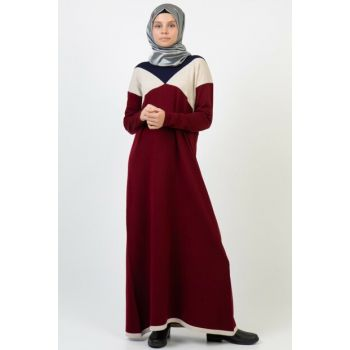 Women Burgundy Colored Pattern Dress 4139