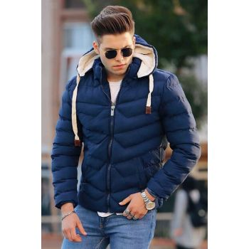 Navy Blue Hooded Inflatable Coat 9027