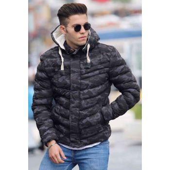 Black Camouflage Inflatable Coat 9012