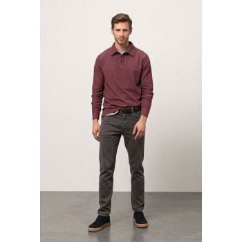 Men's Brown Slim Cotton Trousers 352729