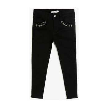 Black Kids Bird Eye Detailed Jean Trousers 0KKG47090OD