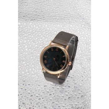 Gold Color Case Anthracite Color Wicker Watch Women's Watch 8699000096681