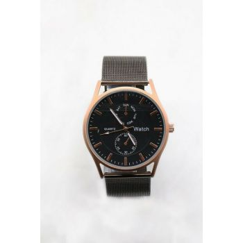 Gold Color Case Anthracite Color Mesh Watch Unisex Watch 8699000096148
