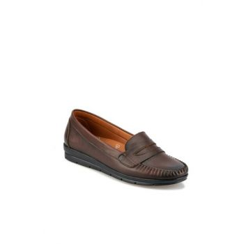 Genuine Leather Brown Women Loafer Shoes 92.101002.Z