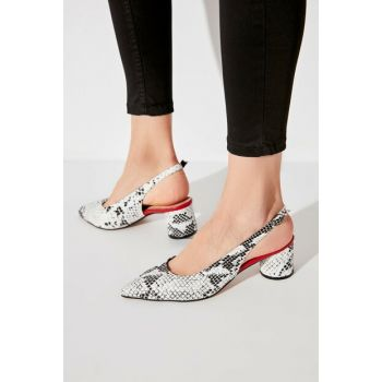 Black Snake Patterned Women Heels Shoes TAKAW20TO0112