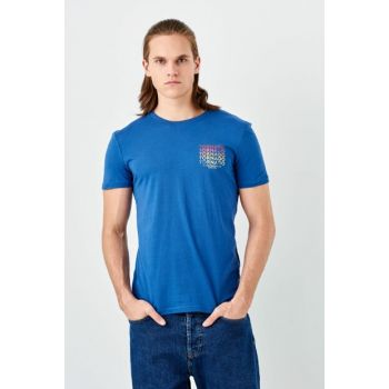 Men's Tornado Printed T-shirt Shiny Blue 065510-28724