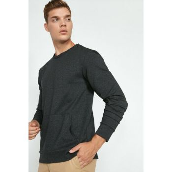 Men's Gray Pocket Detailed T-Shirt 0KAM11956LK