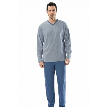 Men's Indigo Empirme V-Neck Long Sleeve Pajamas Suit 100% Cotton 4103