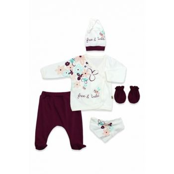 Purple Floral Double Breasted 3-Piece Baby Set K2870 2870BM