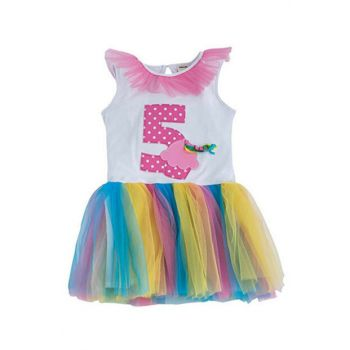 Happy Birthday Girls 5 Age Dress White 15YKCELB949