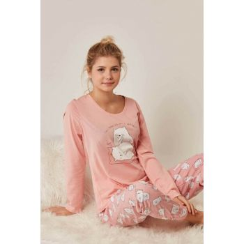 Women's Pink Long Sleeve Pajama Set 8050639069 Y19W137-8050639069