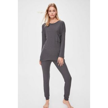 Gray Textured Pajamas Set THMAW20PT0223 THMAW20PT0220