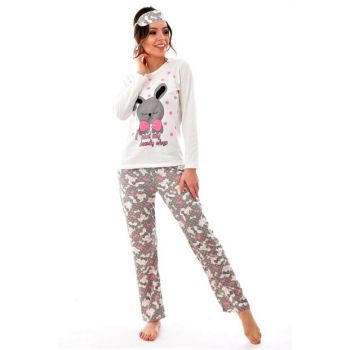Women's Gray Long Sleeve Patterned Pajama Set 4183