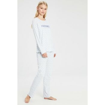 Women's Light Blue Printed Pajamas Suit 9WL831Z8