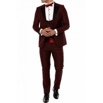 039 SET Slim Fit Burgundy Black Suit 16YTBLK039