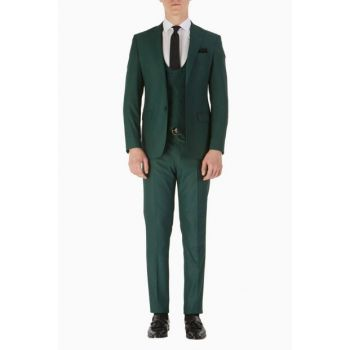 TK 742 Slim Fit Green Sport Suit TK742V0119