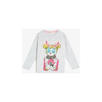 Gray Children's Printed T-Shirt 0KKG17038AK