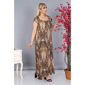 Women's Leopard Back Drawstring Long Viscose Dress PV0026