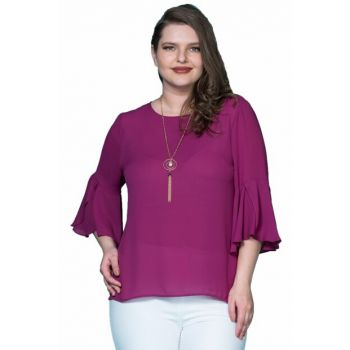Women Purple Sleeve Frilly Crepe Blouse P406