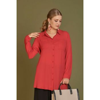 Women's Coral Crepe Shirt with Double Pockets 101010400138