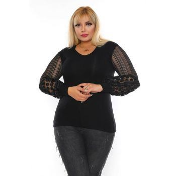 Women's Black Lace Balloon Sleeve Viscose Blouse BKT0006