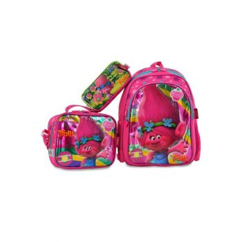 Pink Girl Children School Bag trolls3luokulset89074