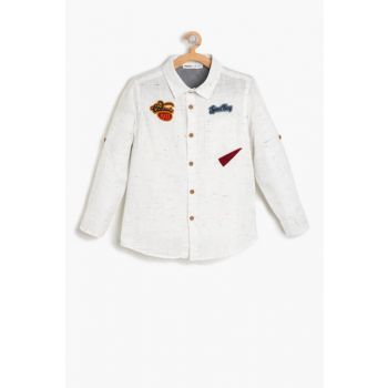 Ecru Boy's Applique Detailed Shirt 9KKB66337TW