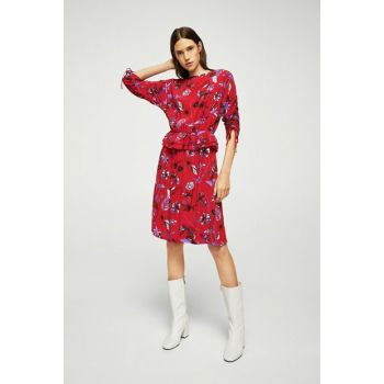 Women's Red Patterned Frilly Dress 13075728
