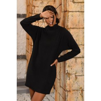 Women Black Sheer Neck Oversize Sweater Dress ALCC-017-005-AX