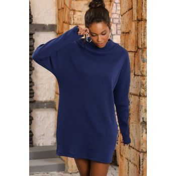 Women's Navy Blue Sheer Neck Oversized Sweater Dress ALCC-017-005-AX