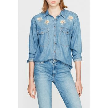 Women's Vintage Jean Embroidery Jean Shirt 121178-27326