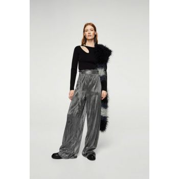 Women's Silver Pleated Metallic Pants 13047683
