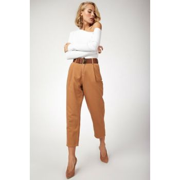 Women's Camel High Waist Balloon Jean YP00088