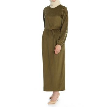 Women's Khaki Pleated Detail Belt Dress ELB03206_HKI
