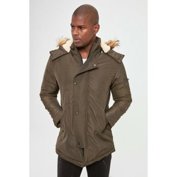 Khaki Men's Hooded Front Coat With Zipper New TMNAW20KB0176