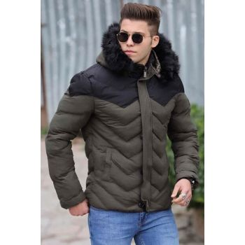 Khaki Fur Inflatable Coat 9013