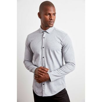 Gray Mens Pique Fabric Extra Slim Fit Knitted Shirt TMNAW20GO0370