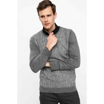 Men's Gray Printed Slim Fit Sweater Pullover K4284AZ.18WN.GR210