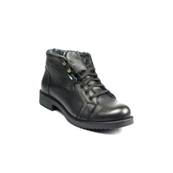 Genuine Leather Black Men Boots 100421075