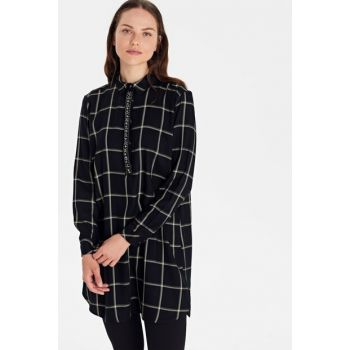 Women's Black Plaid Tunic 9WN307Z8