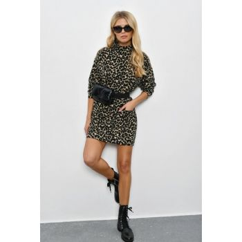 Women's Camel Leopard Printed Tunic DY25581