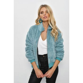 Women's Mint Zippered Shirt Collar Plush Jacket YLF103